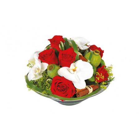 image de la composition de roses rouges et orchidées blanches Perle de Rose