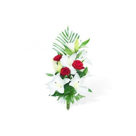 Bouquet de fleurs mystre de roses livraison 77 en 4 heures l dtail du bouquet de fleurs lys blancs 3 roses rouges et feuille de kentia le tout uni par un lien harmonieux rf florale 0135 mystre de roses thecheapjerseys Image collections