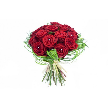 image du bouquet rond de roses rouges Perle d'amour