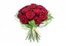 Bouquet rond de roses rouges Perles d