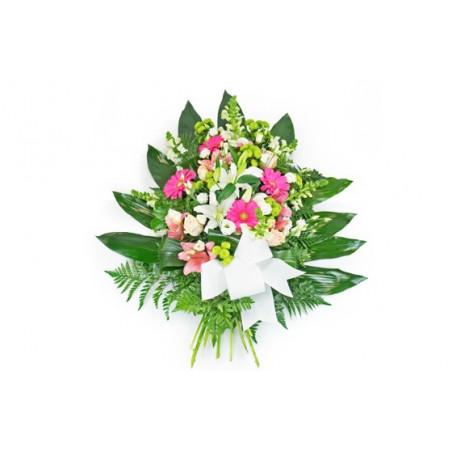 image de la gerbe de fleurs dans les tons rose & blanc