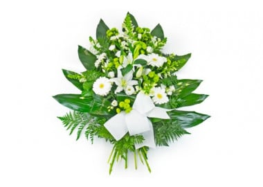 image de la gerbe de fleurs de deuil dans les tons blancs