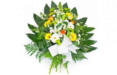 image de la gerbe de fleurs dans les tons jaune, orange et blanc