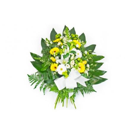image de la gerbe de fleurs de deuil dans les tons jaune et blanc