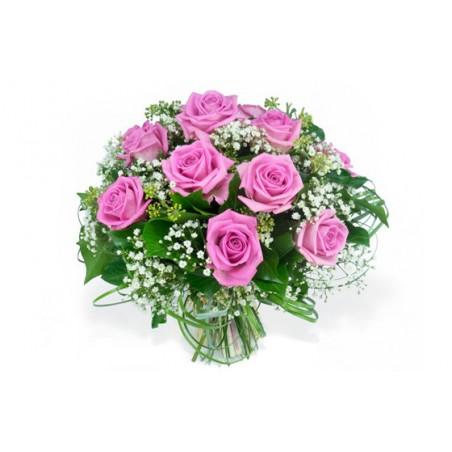 image du bouquet de roses roses et gypsophile pluie de roses