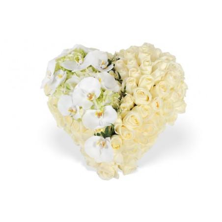 image du coeur de deuil blanc chérubin
