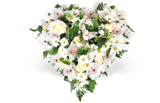 livraison coeur de fleurs blanches pour un deuil nuage par. Black Bedroom Furniture Sets. Home Design Ideas