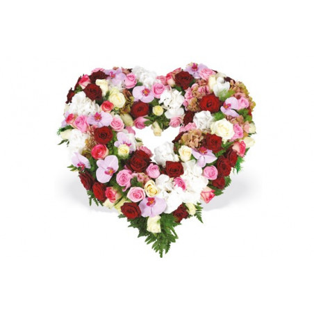 coeur en fleurs de deuil tons rouge rose & blanc
