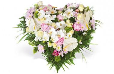 Image du coeur de deuil dans les tons blanc et rose