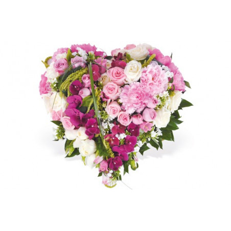 Image du coeur en fleurs dans les tons roses Songe