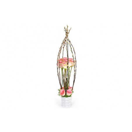 image de la composition de roses roses Cage d'Amour