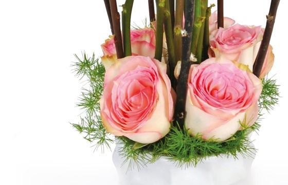 bas de la composition de roses roses