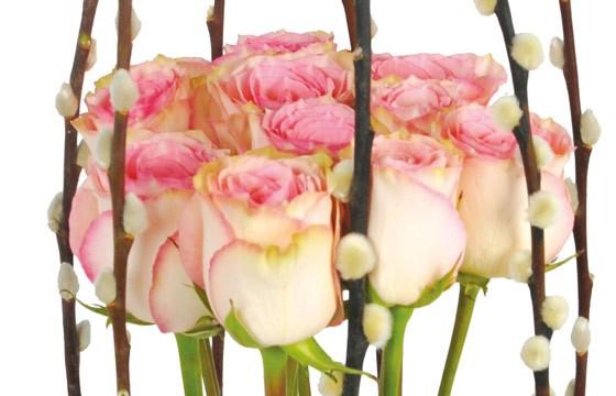 vue sur le fagot de roses roses de la composition Cage d'Amour