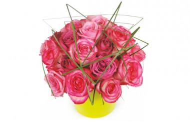 image de la composition de roses roses Traviata