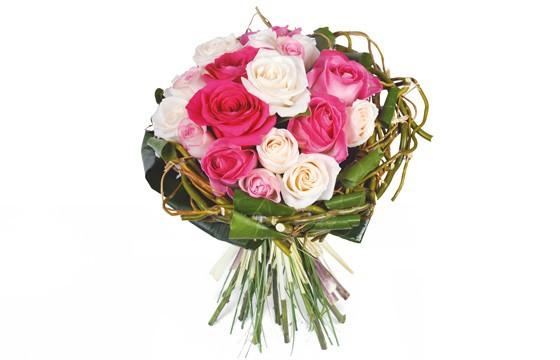 bouquet rond de roses blanches et roses livraison 7 7 en. Black Bedroom Furniture Sets. Home Design Ideas