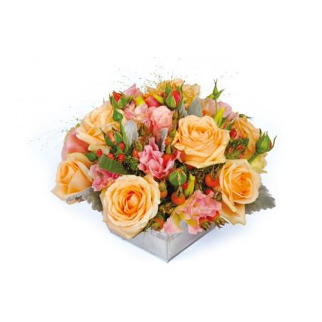 image de la composition florale de roses multicolores Miel