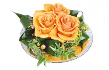 Image de la composition de roses oranges Ocre