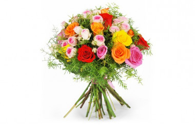 image du bouquet de roses multicoles fragrance