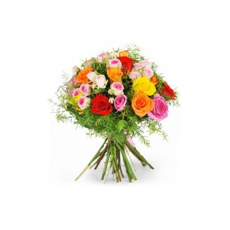 image du bouquet de roses multicoles fragrance