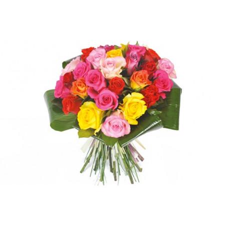 image du bouquet de roses multi-couleurs Peps
