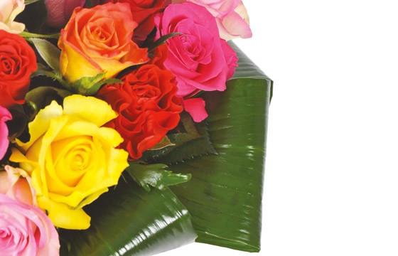 zoom sur la droite du bouquet rond de roses
