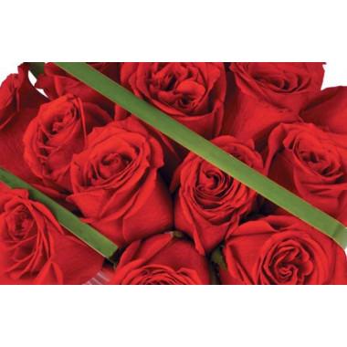 zoom sur le centre du bouquet de roses en pot grenade
