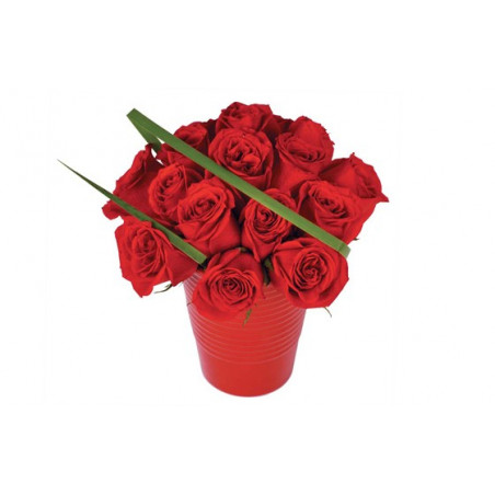 image du bouquet de roses rouges en pot Grenade