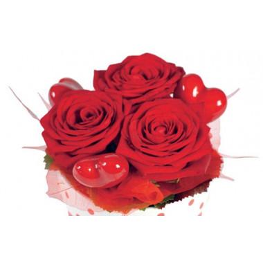 zoom sur les trois roses rouges roméo