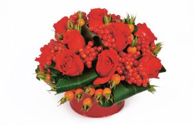 image de la composition de fleurs rouges Malaga