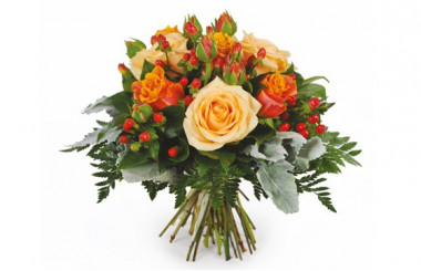 Image du bouquet de roses orange et saumon