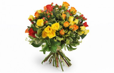 image du bouquet coloré de roses jaunes, oranges & rouges