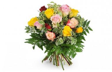 image du bouquet rond de roses multicolores Dame Rose