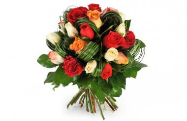 image du bouquet rond de roses colorées Joie