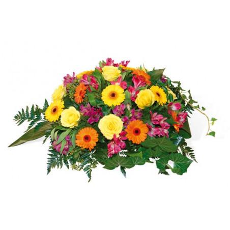 image de la composition de fleurs pour un deuil tons jaune & orange Univers