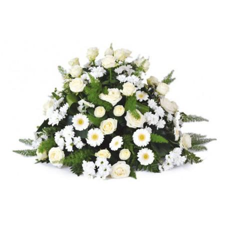 Image de la composition de deuil dans les couleurs blanches du nom de Pureté