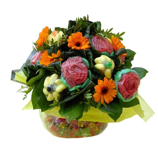 Bouquet de bonbons rond gourmand
