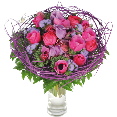 bouquet rond original rose et violine