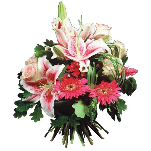 Livraison bouquet fleurs de saison rose et blanc pour for Bouquet de fleurs pour une naissance