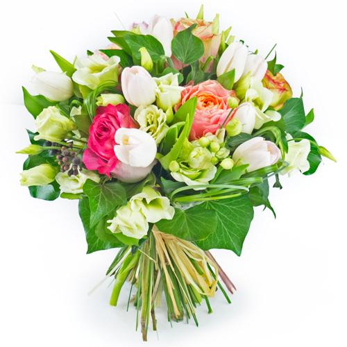 Bouquet de fleurs de saison pastel rose et blanc for Bouquet de fleurs rose