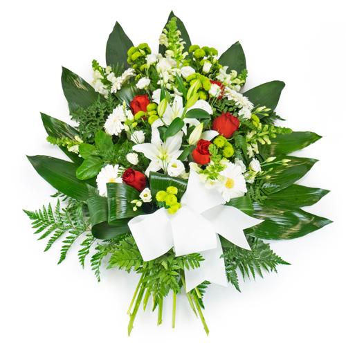 Gerbe de fleurs rouge et blanche livraison deuil for Livraison fleurs paypal