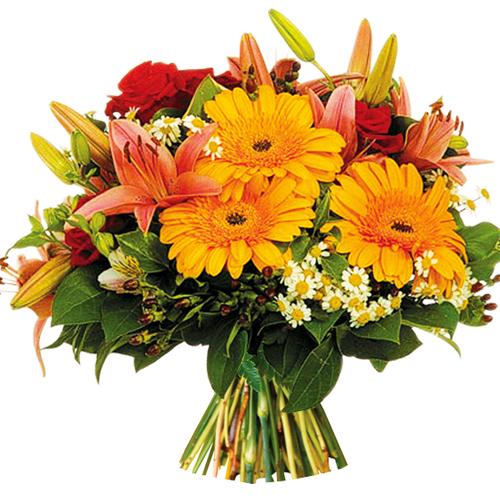 enflammé: bouquet rond pour deuil dans les tons rouge orangé