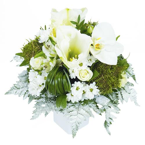 Superior boule de noel blanche 10 bouquet rond blanc et vert avec amaryllis roses fleuron de - Rose de noel blanche ...