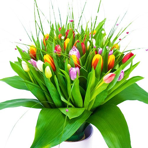 bouquet rond de tulipes multicolores en 4h