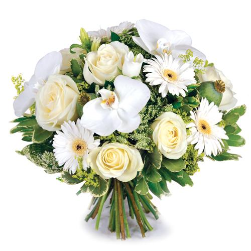 rêve blanc: bouquet de fleurs raffinées pour deuil composé de