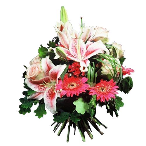 Rosaria bouquet rond fleurs deuil dans les camieux de for Livraison fleurs paypal