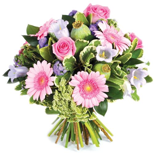 Faites livrer ce bouquet rond rose et mauve gerberas for Bouquet livraison