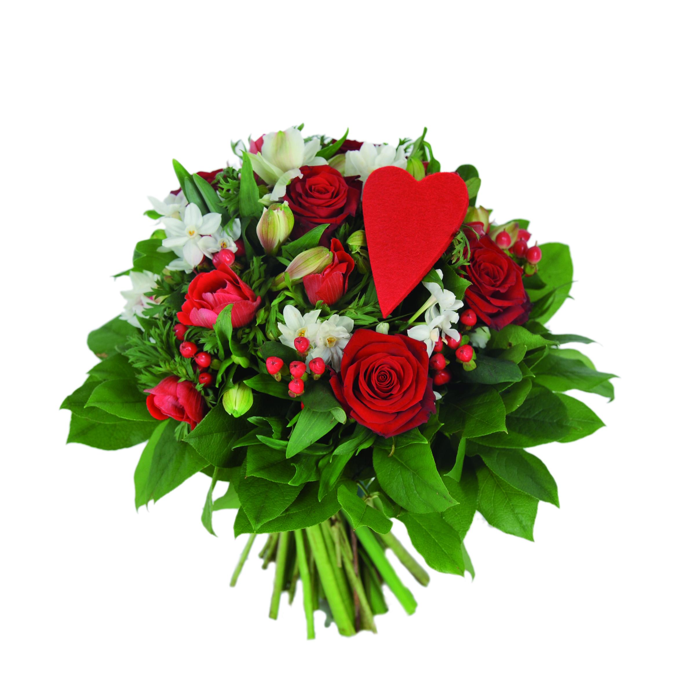 Bouquet rond rouge et blanc plein de tendresse avec roses rouges coeur rouge - Bouquet des fleurs rouges ...