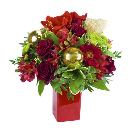 bouquet rond no l dans les tons rouge et vert et compos de roses rouges alstrom rias rouges. Black Bedroom Furniture Sets. Home Design Ideas