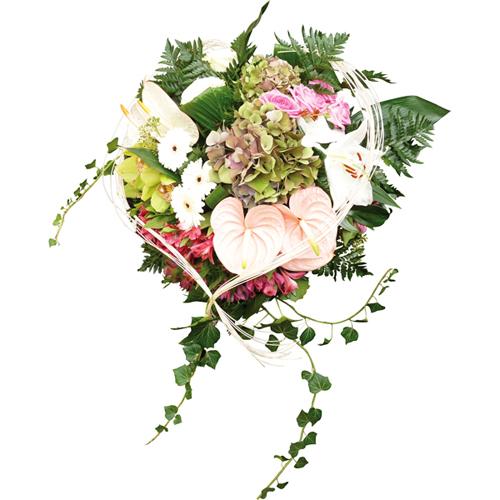 Ange coeur fleurs deuil avec anthuriums gerberas alstroem rias roses hor - Coeur avec des fleurs ...