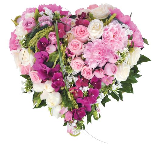 Songe coeur deuil en fleurs en forme de coeur dans les tons rose parme et b - Fleurs en forme de coeur ...